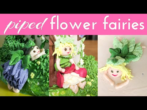 Relaxing cake decorating: Fairy house cake part 1 - piping tiny buttercream flower fairies