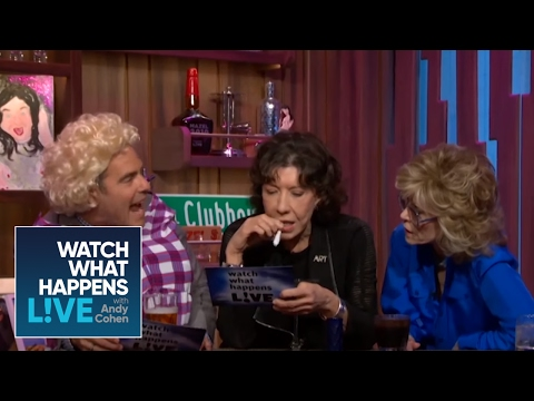 Jane Fonda & Lily Tomlin Reenact '9 to 5' with Andy as Dolly Parton | WWHL