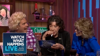 jane fonda lily tomlin reenact 9 to 5 with andy as dolly parton   wwhl