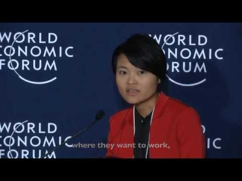 Grab co-founder, Tan Hooi Ling speaks at the World Economic Forum 2017