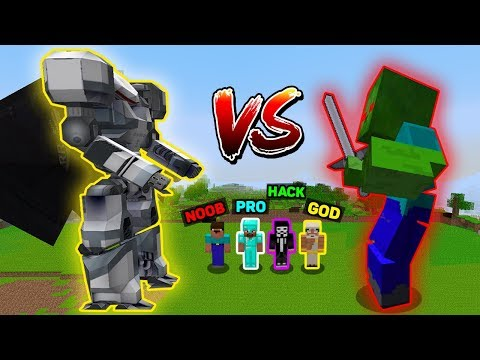 Minecraft - NOOB vs PRO vs HACKER vs GOD : SUPER ROBOT TITAN vs Zombie TITAN in Minecraft Animation