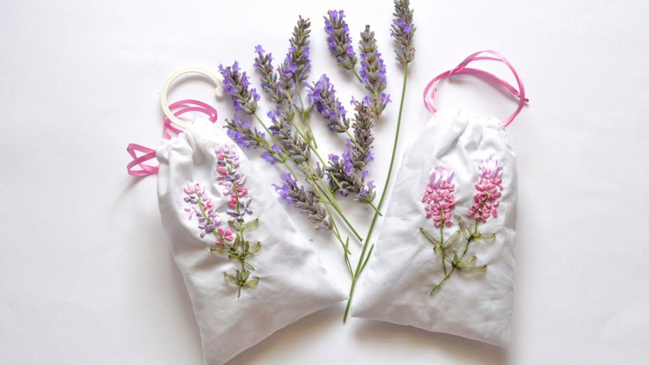 Вышивка лентами на мешочке