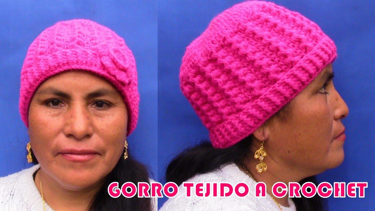 comprando ahora venta al por mayor comprar más nuevo Gorro a crochet en punto escalerita con flor paso a paso para diferentes  edades