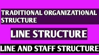 TRADITIONAL Organization Structures ll LINE STRUCTURE ll LINE & STAFF STRUCTURE