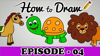 How To Draw A Horse, Tortoise & Lion - StepByStep Cartoon Art Drawing Tutorial For Kids & Beginners