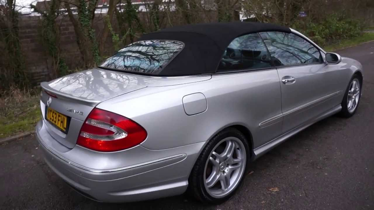 2003 53 mercedes clk55 amg 5 4 v8 convertible silver. Black Bedroom Furniture Sets. Home Design Ideas