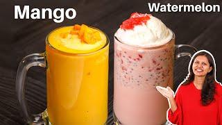 गरमय म बनए ठड ठड मलकशक  Mango and Watermelon Milkshake  Milkshakes Recipe  Kabita