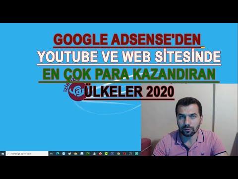 Google Adsense'den Youtube ve Web sitesinde en çok para kazandıran ülkeler 2020