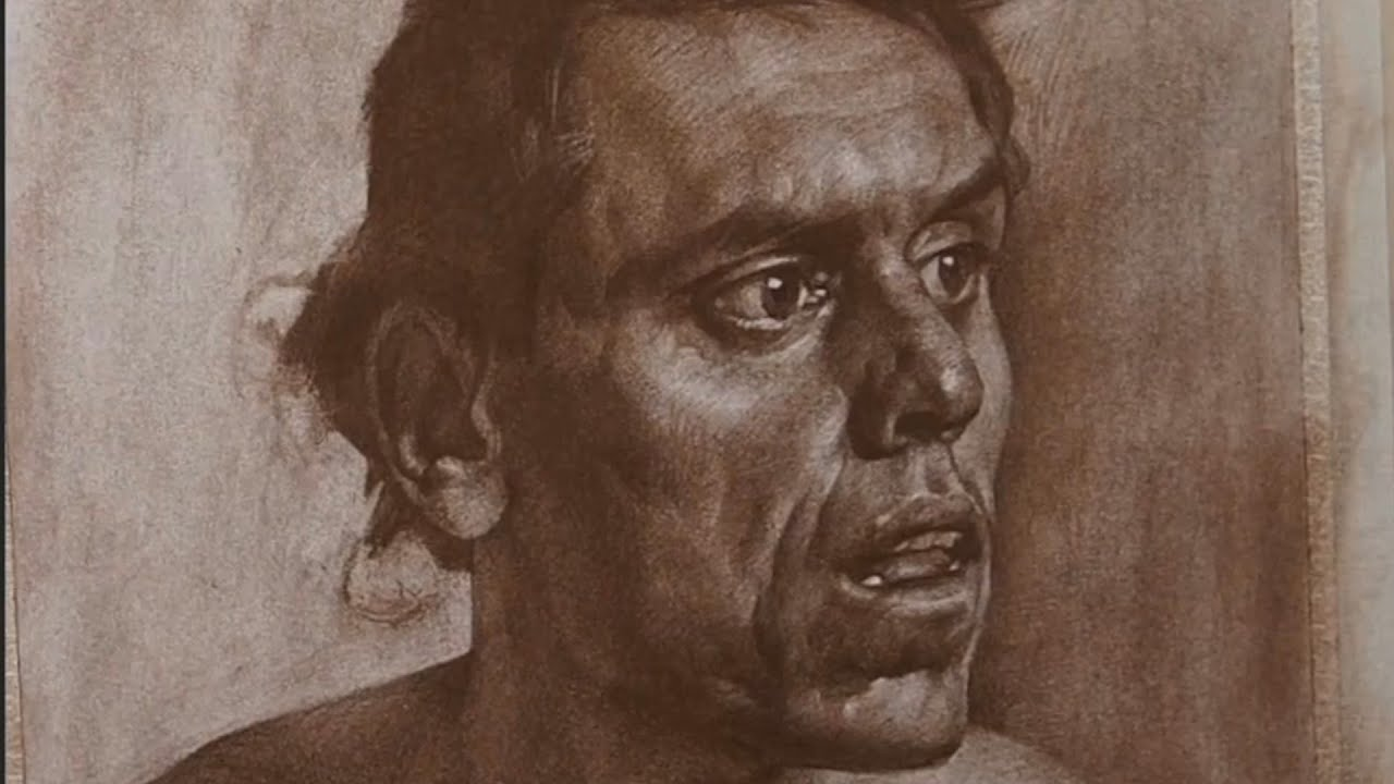 Portrait drawing with pastel colour