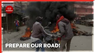 Boda boda riders in Kitengela protest against failure by contractor to repair busy road