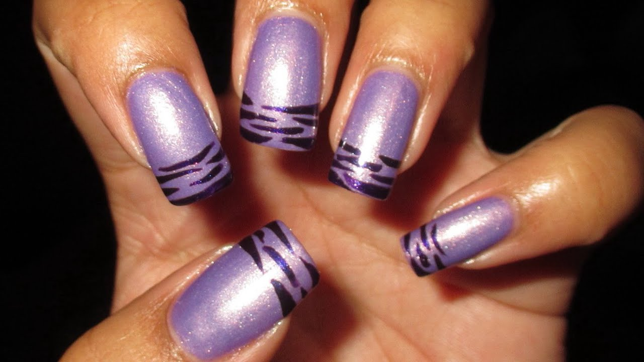 purple striped french tip nail