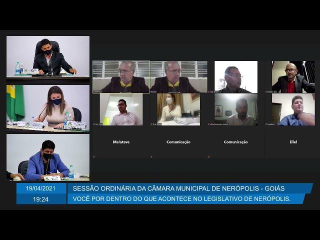 Sessão da Câmara Municipal de Nerópolis 19/04/2021