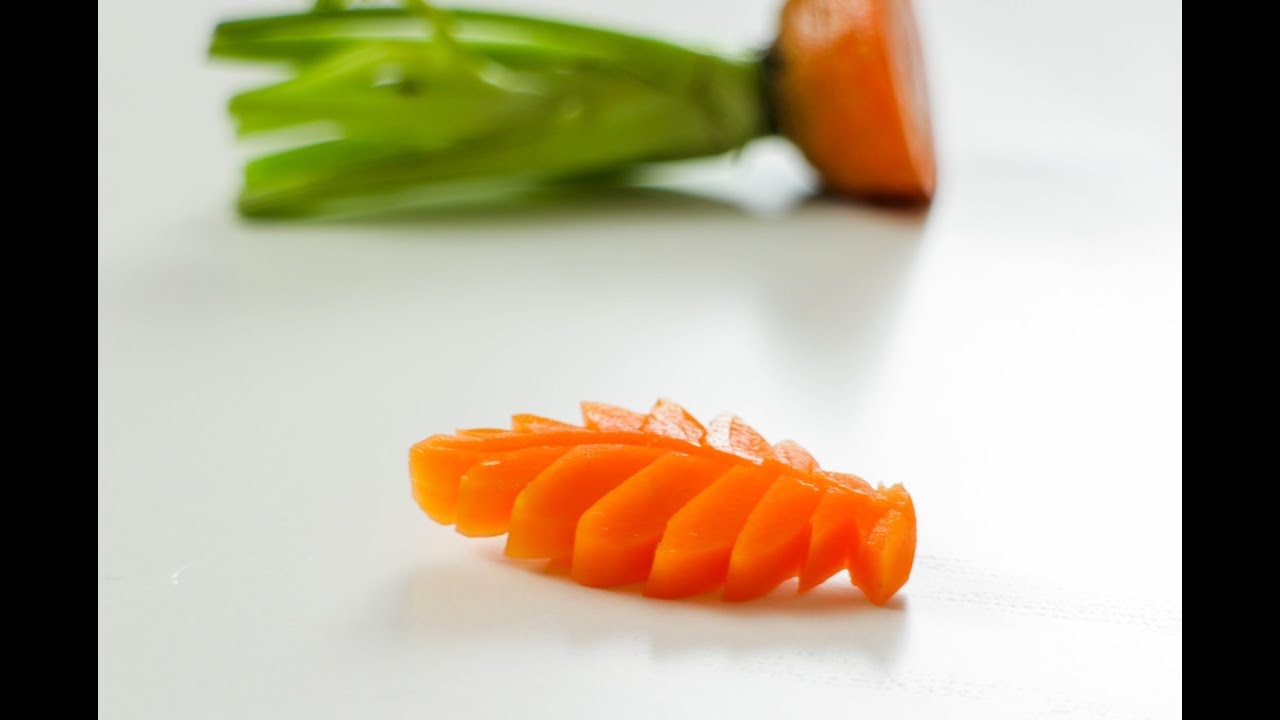How to make a carrot leaf vegetable carving art youtube
