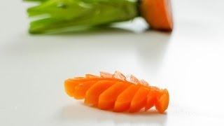How To Make A Carrot Leaf - Vegetable Carving Art