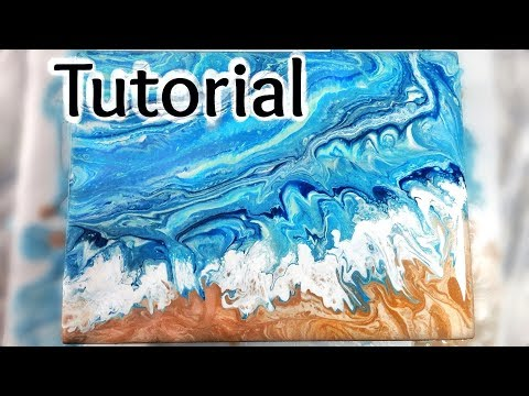 [7]  How to paint ocean waves and a beach in a dirty pour fluid acrylic painting