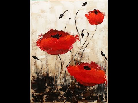 Impressionist Poppies Step by Step Acrylic Painting on Canvas for Beginners