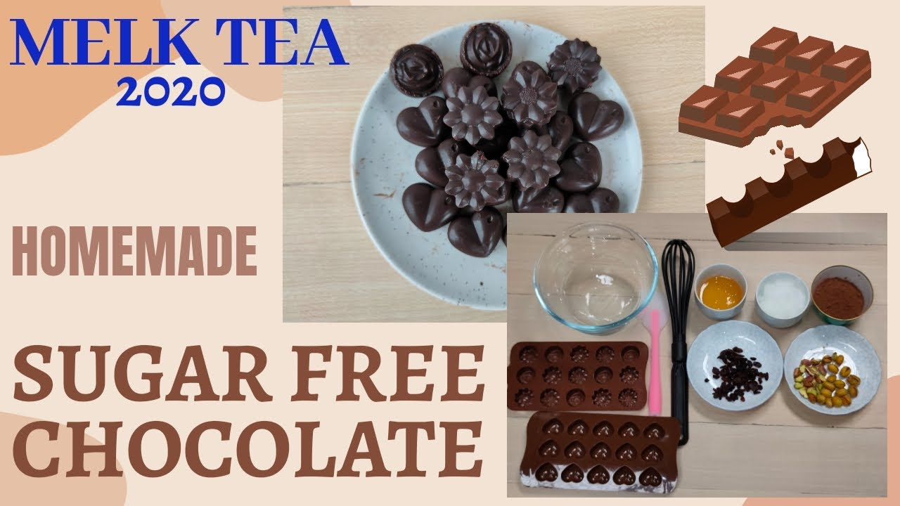 HOMEMADE SUGAR FREE CHOCOLATE    With 3 ingredients only    EASY CHOCOLATE