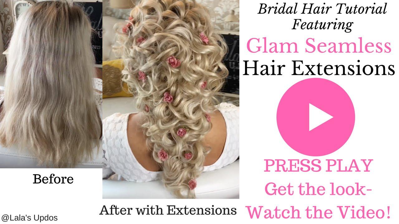 bridal tutorial using clip in hair extension