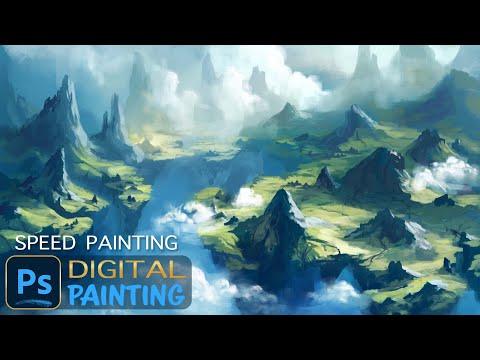 Speed Painting with Photoshop, Floating Island Landscape