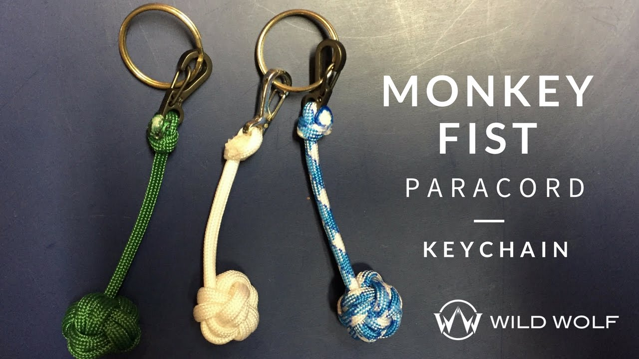 Monkey fist paracord keychain no ball globe knot youtube for How to make a keychain out of paracord