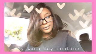 My Relaxed Hair Wash Day Routine ♡