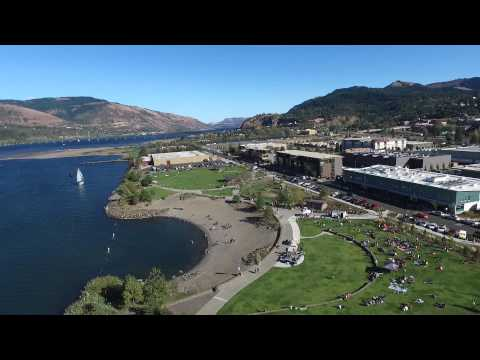 Hood River waterfront - Drone aerial view