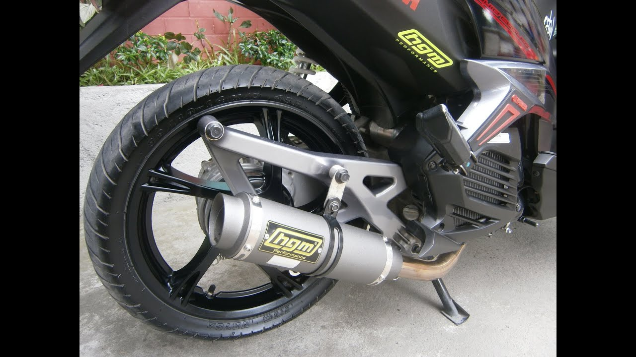 Yamaha Mio 125 Mx with HGM Gunmetal Round Pipe - YouTube
