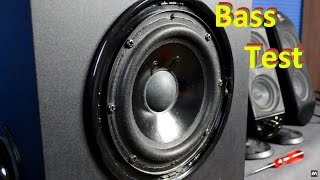 How to remove Logitech X-230 grill + subwoofer excursion bass test
