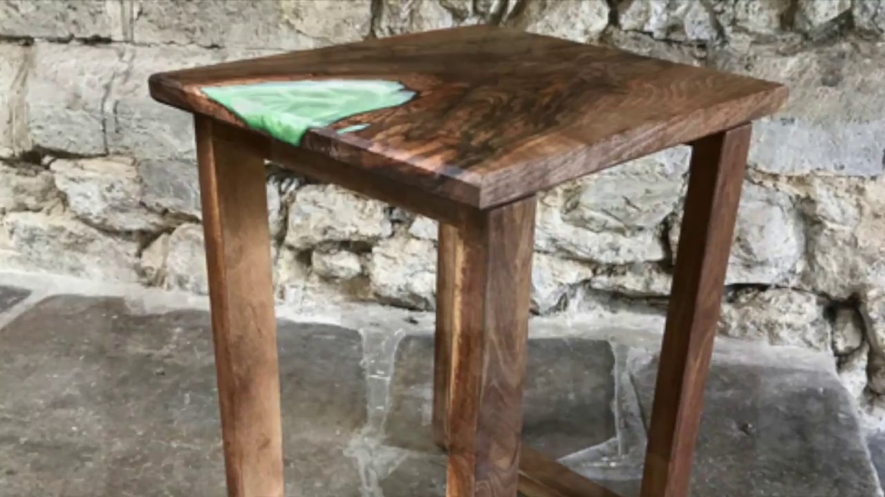 Walnut And Epoxy Resin Table Youtube