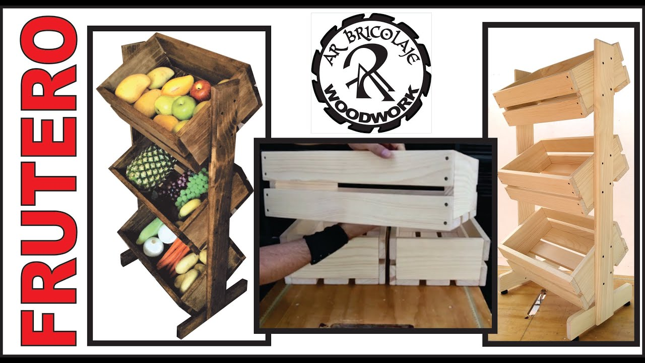 FRUTERO Y VERDULERO  DE MADERA CON CAJONES TIPO HUACALES / FRUIT AND VEGETABLE STORAGE BINS