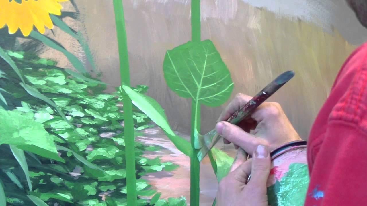 How to paint foliage 2 mural joe youtube for Mural joe painting