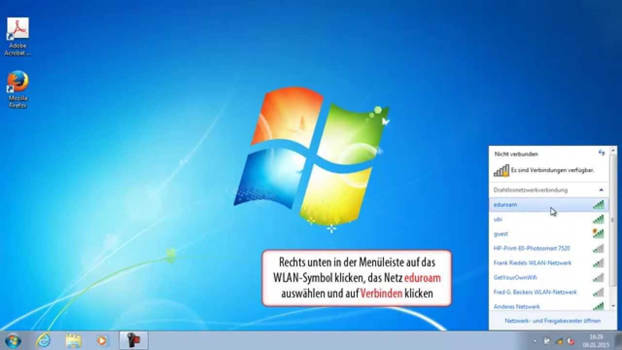 Wlan Verbindung Mit Eduroam Unter Windows Win7 Vista Einrichten Youtube