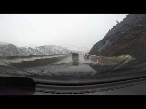 Interstate 80 waterfalls above Truckee river flood in California