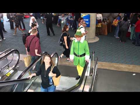 Buddy The Elf Invades the San Diego Comic Con Escalators!