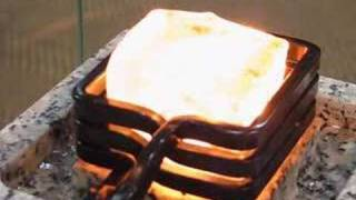 Red-hot ice cube by induction heating