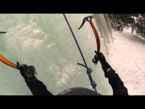 Ice climbing the Curtains Munising MI
