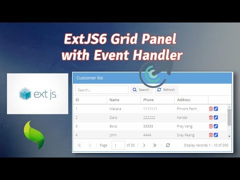 ExtJS6 Grid Panel  With Event Handler