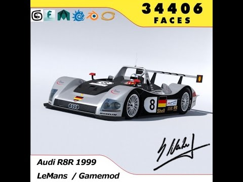 3D Model Audi R8R 1999 - LeMans Gamemodel 3D Model at 3DExport.com