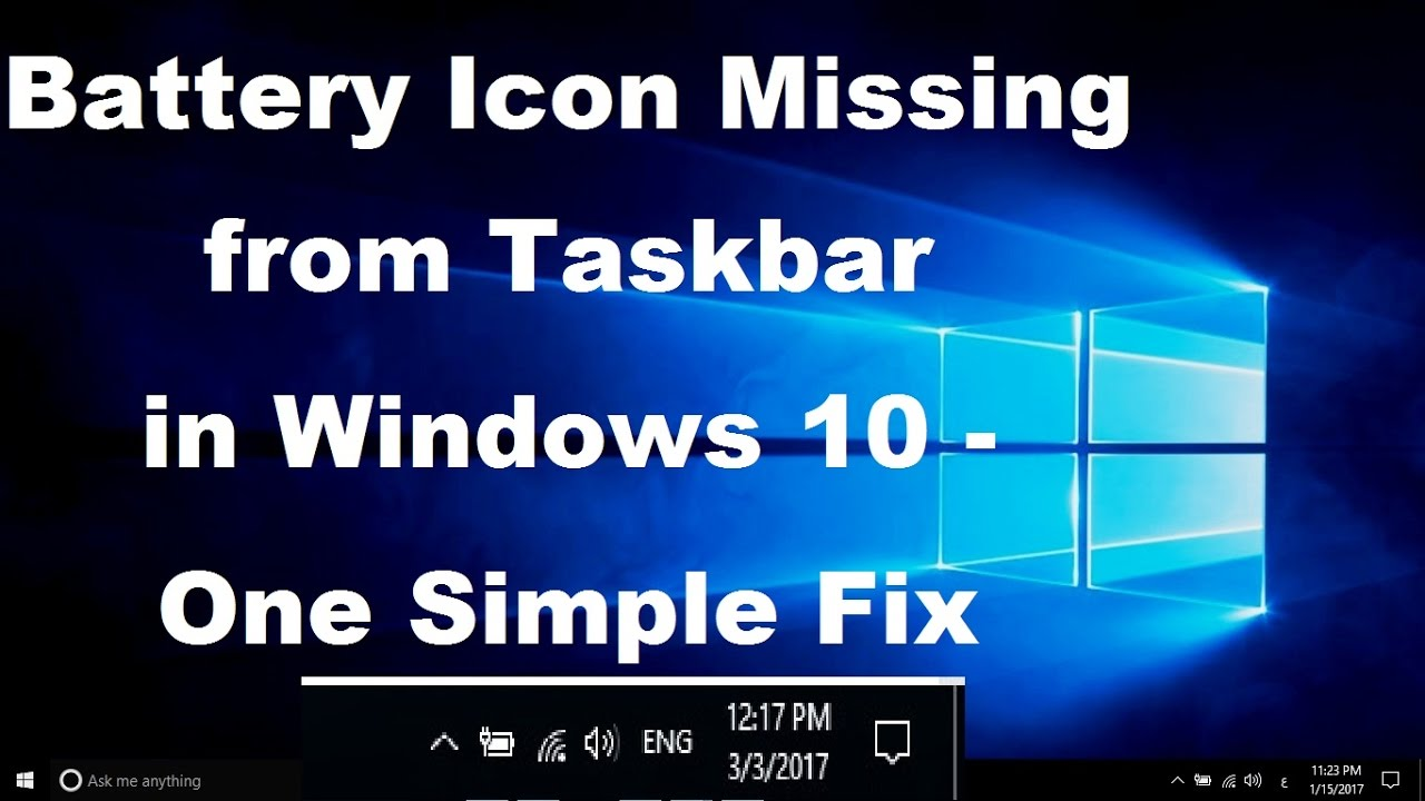 Battery Icon Missing from Taskbar in Windows 10 - Simple Fix - YouTube