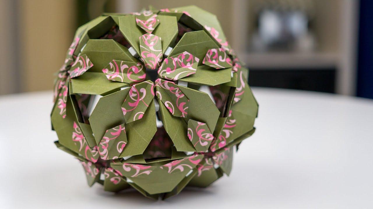 basteln mit papier origami bl tenkugel falten youtube. Black Bedroom Furniture Sets. Home Design Ideas