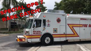 Boca Raton Fire Rescue Special Operations 7 and Ladder Responding. RARE CATCH!