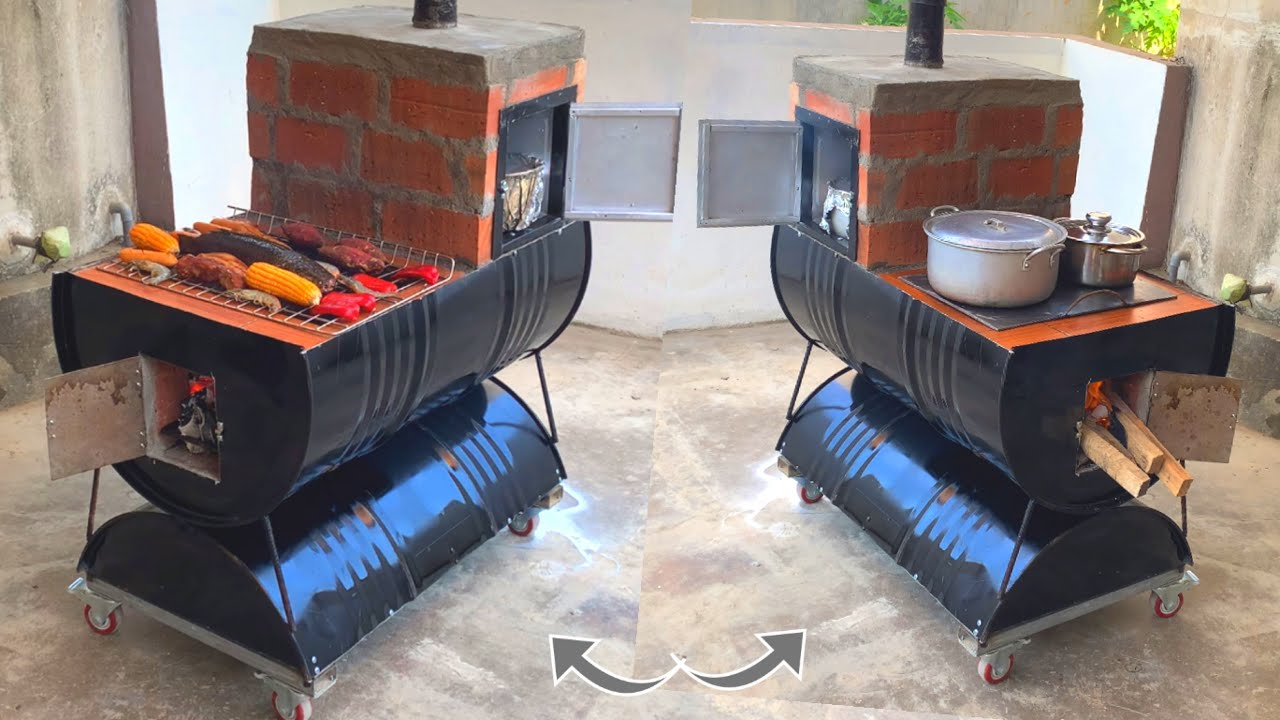 Download Outdoor multi purpose oven _ creative ideas from cement and non iron barrels