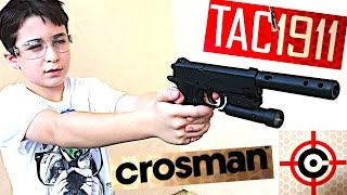 crosman 1911 tactical bb air pistol with mock silencer and laser sight with robert andre
