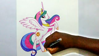 how to draw my little pony Princess Celestia easy