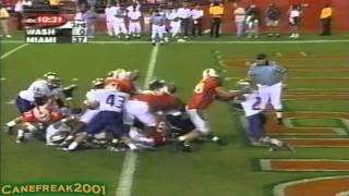 2001 Miami Hurricanes vs Washington Highlights