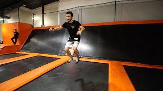 backflipping at a crazy trampoline park