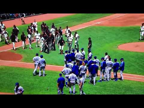 2017 Dodgers Vs Giants Benches Clear Cueto Throws at Grandal