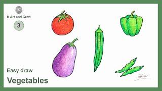 vegetables drawing easy step