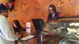 Dad Surprises Mom at Work with Edible Arrangements!!!!
