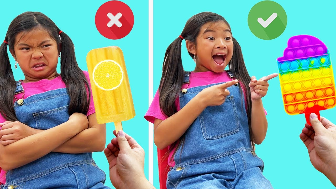 Download Emma and Ellie Learn Healthy vs Unhealthy Food with Pop It Toys | Good vs Bad Foods Pop It Challenge